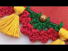Saree Kuchu // Bridal Saree Kuchu design tutorial for beginners /siri creations Saree Tassels Designs, Saree Kuchu Designs, Blouse Designs, Crochet Stitches Patterns, Embroidery Stitches, Stitch Patterns, Hand Work Blouse Design, Saree Border, Crochet Lace Edging