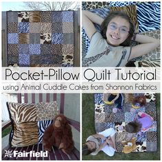 Pocket-Pillow Cuddle Quilt Tutorial by @PiecesByPolly   -   with Cuddle fabrics - features Cuddle Cakes Adorable Animals http://www.shannonfabrics.com/kits-precuts/precuts/cuddle-cakes-br-adorable-animal, and notions by @fairfieldworld   -   See more information here on My Cuddle Corner- http://shannonfabrics.com/blog/2015/06/08/adorable-animals-cuddle-quilt-with-pocket/
