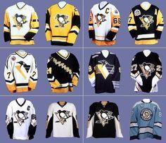 Evolution of the jersey Pens Hockey, Ice Hockey Teams, Hockey Goalie, Hockey Stuff, Pittsburgh Sports, Pittsburgh Penguins Hockey, Hockey Rules, Lets Go Pens, Nhl Jerseys