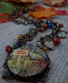 FALL Ephemera Necklace with Filigree and Czech glass by skyejewels, $52.00