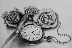 DeviantArt: More Like Pocket watch and roses by dazzbishop