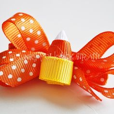 Candy Corn Clippie Layered Bow by mormishmom on Etsy, $5.00