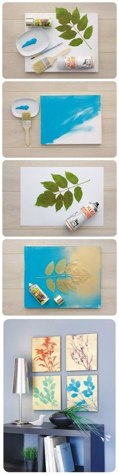 They didn't provide instructions to achieve the end result, so I'll fill in the blanks: *paint entire canvas (the color you want the leaves to be) * place leaves over the canvas and spray paint the desired background color (lighter than 1st color, ideally - they used gold or white, etc) * Use a line brush to hand paint stems in desired color. (my best guess)