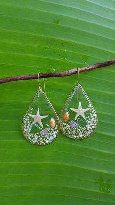 Beach Scene Earrings, Starfish Shell Sand Tear Drop Earrings, Clear See Through, 14K Gold filled earrings, resin earrings, hawaii by KaHokuKai on Etsy