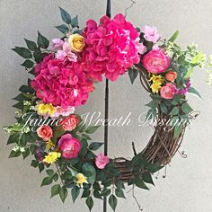 Spring Wreath - Summer Wreath - Easter Wreath - Grapevine Floral Wreath by Jayne's Wreath Designs on fb and Instagram