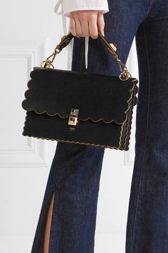 This black calf leather Kan I scalloped handbag from Fendi features a foldover top with flip-lock closure, a top handle, a chain and leather strap, interior compartments Calf Leather, Leather Shoulder Bag, Black Leather, Shoulder Strap, Shoulder Bags, Burberry, Custom Purses, Beautiful Handbags, Pullover