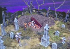 Miniature cemetery to make certainly a page with some great ideas. Halloween Fairy, Halloween House, Holidays Halloween, Halloween Crafts, Halloween Decorations, Halloween Scene, Halloween 2019, Haunted Dollhouse, Haunted Dolls
