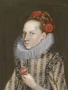 Munich court painter to the Elector Maximilian I — Portrait of a young lady with lace collar and a rose, inscribed: Mary Salome Aetatis, 1623