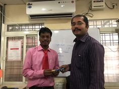 Our engineer Vinod receives Congratulations Cards for best groomed from 174 batch. Good wishes Students.
