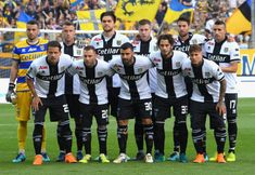 Parma Calcio team line up before the serie B match between Parma Calcio and AS Bari at Stadio Ennio Tardini on May 12 2018 in Parma Italy