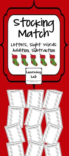 Pre-K & K Christmas Stocking Matching Fun!  Set of 12 worksheets that include 3 each of: Upper case to lower case letter matching, Sight word matching, Addition matching, Subtraction matching