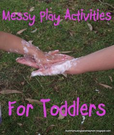 Mummy Musings and Mayhem: Easy ideas for Toddler Messy Play! I really like the idea of finger painting on bubble wrap to mix it up. Sensory Activities, Toddler Activities, Preschool Activities, Sensory Play, Toddler Games, Indoor Activities, Family Activities, Sensory Table, Baby Games
