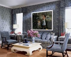 Picture Perfect - A Tina Barney photograph of Aerin and sons hangs in the upstairs sitting room, decorated in batik by Mark Hampton, the very classic New York designer.