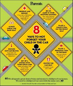 Look before you lock! 8 ways to not forget your child in the car. #LESM #ChildSafety Please Share and Repin