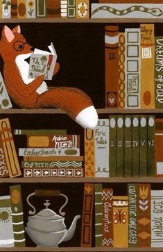 Fox in the library Art And Illustration, Fox Art, I Love Books, Book Nerd, Belle Photo, Book Lovers, Book Worms, Childrens Books, Illustrators