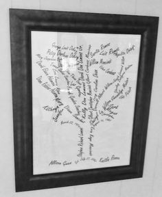 with Microsoft Publisher and word art! Simple, right? she just rotated the names to look like branches. Once she had the image she imagined, she sent it to Staples to get it printed and enlarged. After she got the print, she tea-dyed the print to give it a lovely aged look.