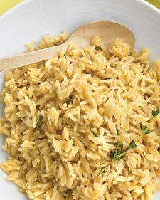 Rice pilaf with thyme- You could always add carrot or peas to this classic dish.