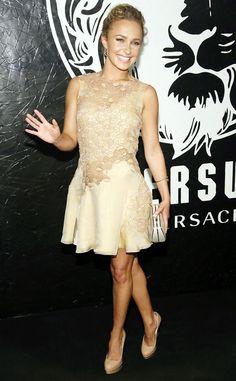 Hayden Panettiere in a beige lace dress by Versace.
