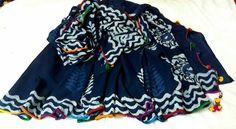 Pure mul mul cotton indigo sarees of bagru printing with pom pom lace