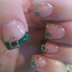 Patrick's Day Nails! View them all right here -> Get Nails, How To Do Nails, Hair And Nails, Irish Nails, St Patricks Day Nails, Green Nail Polish, Different Nail Designs, Holiday Nail Art, Beauty Lounge