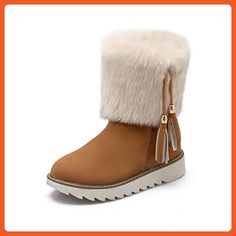 Women's Faux Fur Pendants Mid Heel Platform Snow Boots