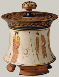 """theancientwayoflife: """"~Terracotta pyxis (box). Attributed to the Penthesilea Painter Period: Classical Date: ca. 465–460 B.C. Culture: Greek, Attic Medium: Terracotta; white-ground """""""