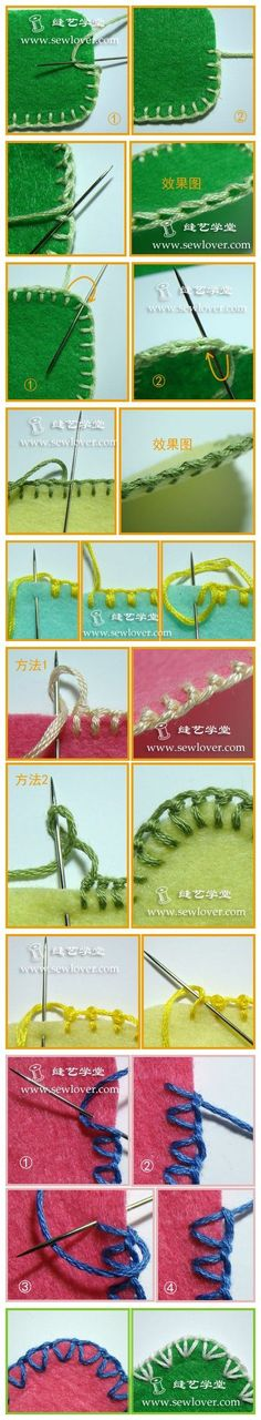 Various blanket stich pictorals, from a Chinese site