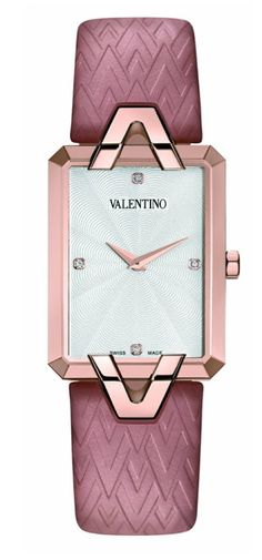 Valentino Women's Gemme Rectangular Rose-gold Case Pink Leather Watch Fancy Watches, Stylish Watches, Luxury Watches, Cool Watches, Women's Watches, Cheap Watches, Wrist Watches, Watches Online, Ring Armband
