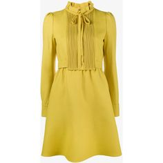 Valentino Yellow Silk Tie Neck Dress ($2,325) ❤ liked on Polyvore featuring dresses, yellow ruffle dress, neck tie dress, yellow a line dress, neck-tie and neck ties