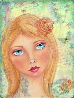 """Mixed Media Art ~ Sabine. ~ A pretty girl collage on wood panel by Kell Belle Studio entitled """"Sabine"""""""