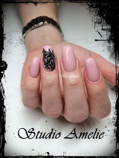 Nude Nails with black swirl design by @studio_amelie - Nailpro