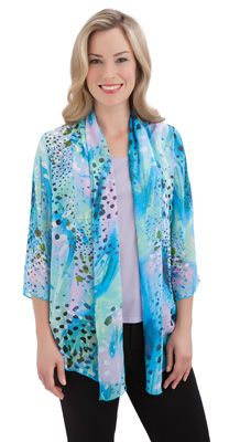 Abstract Open Front Cascade Jacket