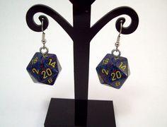 earrings dice D20 geekery geeks gamer by Eternalelfcreations, $10.00 see their online store here:  www.etsy.com/shop/eternalelfcreations