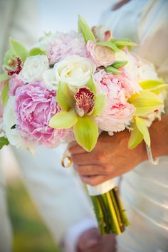 Bouquet Orchid Rose Pony pastel pink pale green ivory. Wedding Ring Bride Groom Flowers by Heidi. Our ceremony at Wedding Tree. Four Seasons Resort Hualalai, Big Island, Hawaii.
