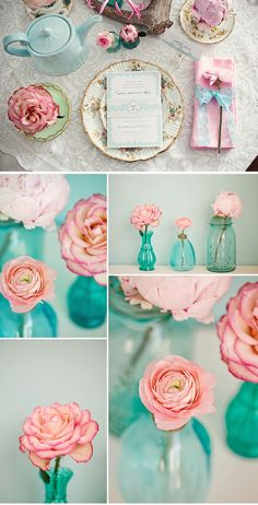 Pink Turquoise Party Centerpieces (photo by Glass Taylor) Coral Wedding Flowers, Aqua Wedding, Spring Wedding Colors, Trendy Wedding, Dream Wedding, Wedding Ideas, Pink Flowers, Pink Roses, Wedding Themes