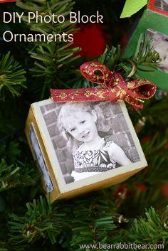 DIY Photo Block Ornaments. #Christmas #crafts