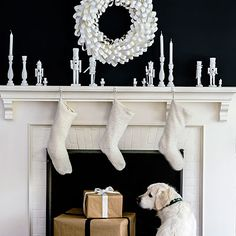 Black and white holiday mantle | Let a black-and-white palette be the antidote to tinsel and flashing colored lights.