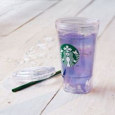 A double-walled plastic Cold Cup embellished with translucent purple brushstrokes.