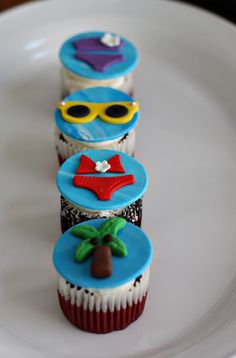 Beach Bikini, Palm Tree, Sunglasses Fondant Toppers for Cupcakes, Cookies or Other Beach Party Treats