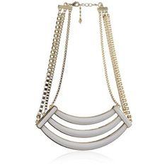 #BelleNoel White Enameled Collar Necklace