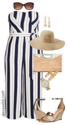 Plus Size Striped Jumpsuit - Plus Size Summer Outfit Idea - Plus Size Fashion for Women - alexawebb.com #alexawebb
