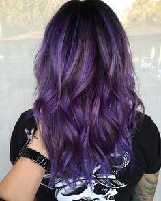 Balayage Hair Purple, Balyage Hair, Hair Color Purple, Hair Dye Colors, Balayage Brunette, Cool Hair Color, Purple Hair Highlights, Rainbow Highlights, Purple Ombre Hair Short