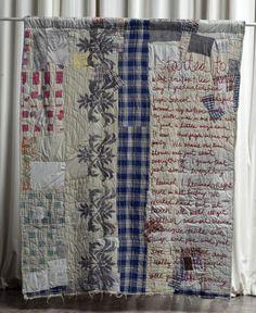 Alabama Chanin via Cassandra Ellis- a Boro feel to this wordy quilt- I love it