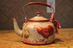 Rooster Decor | Rooster Collector...Tea Kettle Roosters and Hens..Metal..Kitchen Decor ...