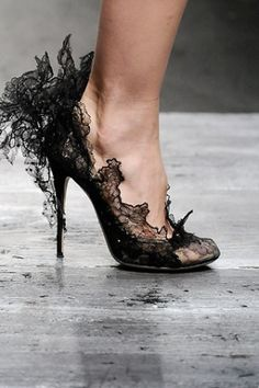 Valentino Lace Shoe:  Lovely to look at... A small fortune to buy, dreadful to wear, then a lifetime of deformity to follow... Jus' sayin' • ((:-{]