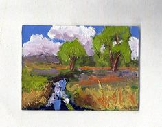 original artist trading card small painting country scene aceo