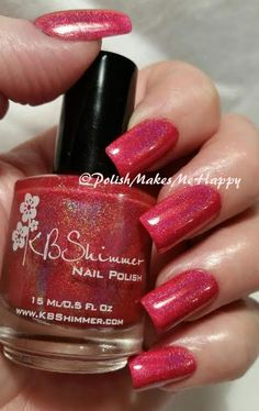"""This is KBShimmer Bath and Body """"Whole Lava Lovin'"""" from the Valentine 2014 collection. It is a cherry red linear holo with a lavender flash. What a perfect formula! I did three coats. No issues at all. LOVE! #KBShimmer #notd #nails #red"""