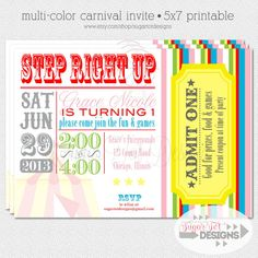 PRINTABLE Retro - Vintage Carnival Birthday Party Invitation, Mulit-Colored Circus Invite - more colors available -5x7
