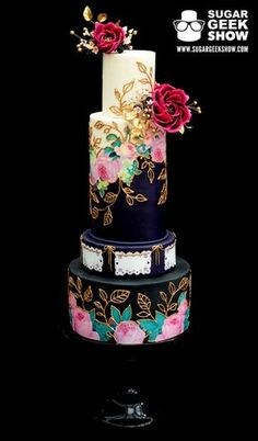 Jewel-toned Mexican inspired wedding cake by Sugar Geek Jewel-toned Mexican inspired wedding cake by Sugar Geek Beautiful Wedding Cakes, Gorgeous Cakes, Pretty Cakes, Amazing Cakes, Unique Cakes, Elegant Cakes, Creative Cakes, Cake Shots, Cupcake Torte