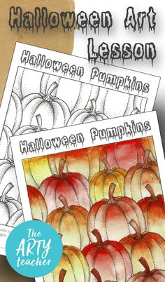 Halloween art lesson. Teach your art students valuable watercolour skills with this Halloween art lesson. #art #halloweenart #artteacher #arted